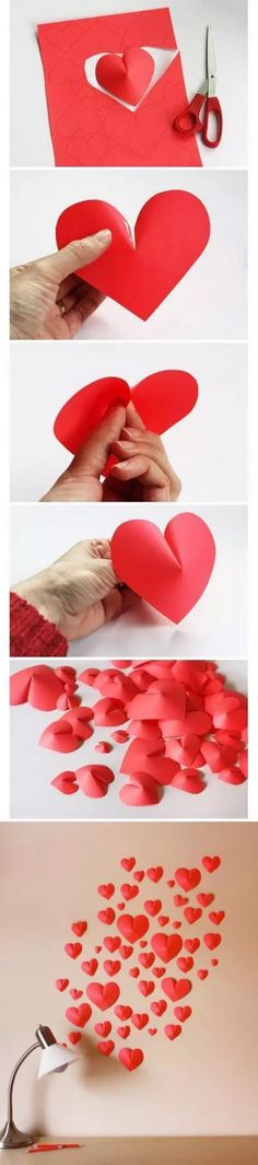 3D Paper Heart Valentine's Day Wall Decor
