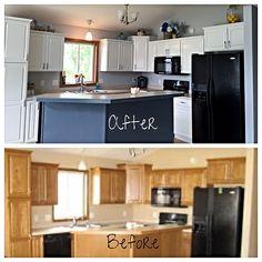 Kitchen Cabinet Repurpose- DIY          Valspar Cabinet Enamel