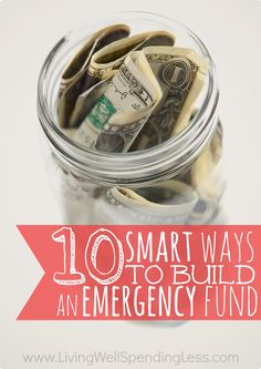 Smart Ways to Build an Emergency Fund Want to save money or pay off debt, but aren't sure where to start? Don't miss these 10 super smart ways to build an emergency fund fast, plus a ton of awesome tips & ideas from LWSL readers!Fund Fund may refer to: Ways To Save Money, Money Tips, Money Saving Tips, Money Budget, Managing Money, Money Plan, Budgeting Finances, Budgeting Tips, Dave Ramsey