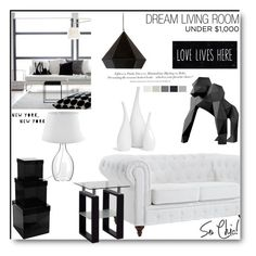 """Monochrome deco under $1000"" by tesoro-mia ❤ liked on Polyvore featuring interior, interiors, interior design, home, home decor, interior decorating, Pols Potten, Dot & Bo, Mitchell Gold + Bob Williams and H&M"