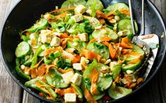 Spicy Cucumber Salad With Pan-Fried Tofu [Vegan] | One Green Planet