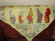 Vintage Jacqmar Silk Scarf 1950s  The Queens Beasts £44.00 (8B)