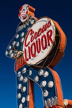 Items similar to Circus Liquor Neon Sign Photo - Clown Sign - Home Bar Decor - Kitchen Art - Fine Art on Etsy