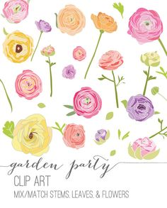 Garden Party Floral Clip Art via Etsy.