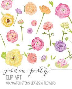Garden Party Floral Clip Art via Etsy.