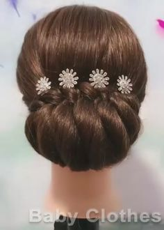 Bun Hairstyles For Long Hair, Braided Hairstyles, Braided Upstyles, Saree Hairstyles, Summer Hairstyles, Front Hair Styles, Medium Hair Styles, Hair Style Vedio, Bridal Hair Buns