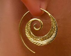 Brass Earrings  Brass Spiral Earrings  Gypsy Earrings