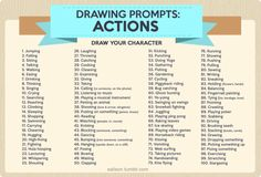 Rather than drawing your character standing there doing nothing over and over again, here's 100 other ideas to put them in action and challenge yourself as an artist.