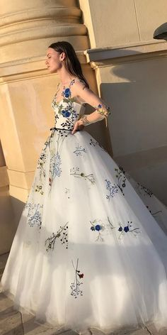 floral wedding dresses ball gown with illusion long sleeves floral blue appliques monique lhuillier wedding gown 36 Pretty Floral Wedding Dresses For Brides Floral Wedding Gown, Floral Gown, Colored Wedding Dresses, Dream Wedding Dresses, Gown Wedding, Floral Dresses, Peacock Wedding, Floral Lace, Lace Wedding