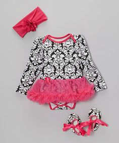 Take a look at this Hot Pink Damask Skirted Bodysuit Set - Infant by Baby Gem on #zulily today!