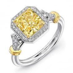 Uneek Natureal Yellow Radiant Halo Diamond Engagement Ring LVS877