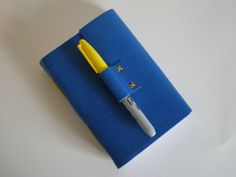 Leather Journal  in Blue & Yellow  Medieval Longstitch with Linkstich limp leather binding
