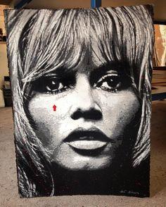 Jef Aerosol : B. Bardot #stencil #carton #pochoir #cardboard #bardot #brigitte