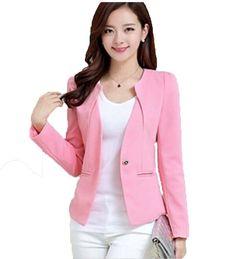 La primavera y el otoño de color rosa traje de las mujeres 2016 de las nuevas mujeres trajes de negocios delgado corto femenino prendas de vestir exteriores de manga larga traje de las mujeres