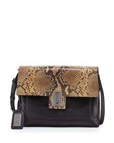 V33Q3 Badgley Mischka Janine Snake-Embossed Leather Crossbody Bag, Black