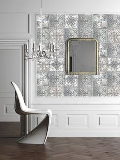 patchwork grey tile wallpaper from Louise Body