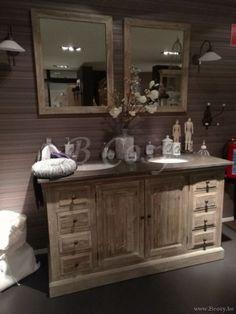 ll-bath-120w-evier de salle de bain double en bois de vieux pin avec tablette en pierre bleue style campagne rustique rural campagnard