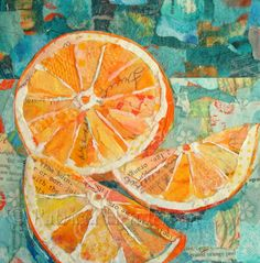 """JUICY FRUIT Original Paper Collage Orange Painting 6 X 6"""" on Gallery wrapped canvas by PatriciaHendersonArt on Etsy"""