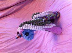 A patchwork pony modeled after a LaLaLoopsy toy.  Custom pattern.
