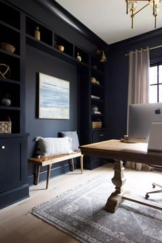 Home Office Space, Home Office Design, Home Office Decor, House Design, Office Ideas, Diy Projects Home Office, Home Office Paint Ideas, Office Cabinet Design, Blue Home Offices