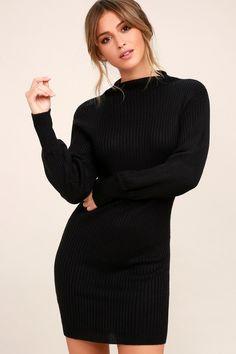 9129a479a6 Burgess Black Mock Neck Sweater Dress