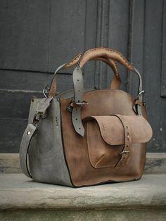 Bolso de cuero con sistema de embrague bolso hecho a mano