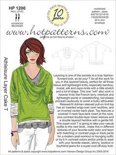 $15.95 - HP 1200 Athleisure Layer Cake T-Shirt fashion sewing pattern