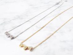 Chevron necklace, Triple triangle necklace, Pave triangle necklace, geometric necklace, pave necklace, triangle jewelry