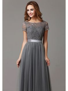 Gray Lace Tulle Floor Length Short Sleeves Sheer Neckline Bridesmaid Dress