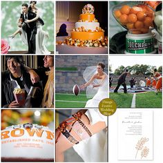 A football wedding theme can be both romantic and playful.
