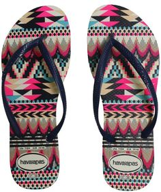 0492ea1100fcba Havaianas Slim Tribal White And Navy Blue Blue And White Sandals