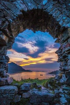 Scotland -- Strome Castle Ruins england sunset reflection (a lovely, lovely photo) Places To Travel, Places To See, Travel Destinations, Scottish Castles, Castle Ruins, Medieval Castle, Scotland Travel, Belle Photo, Beautiful World