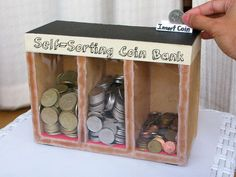 Self-Sorting Wooden Coin Bank *use 3 separate shoe boxes glue together decorate with paint, scrape fabric or paper