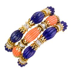 1stdibs.com | VAN CLEEF & ARPELS Trio Set Diamond Lapis Coral Gold and Platinum Bracelets