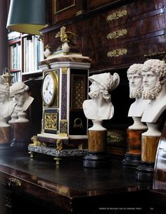 Inside The Beautiful World of Robert Zellinger de Balkany in Paris : his hôtel particulier : Hôtel de Feuquières, 62 rue de Varennes - An exceptional collection, assembled over more than fifty years with among famous paintings and objets d'Art, some marvelous Obelisks, Columns, Grand Tour Souvenirs, Mirrors & Silver - Fumoir Interior designed by famous French designer Jacques Garcia.