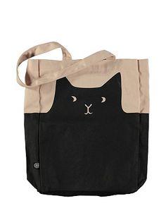 Diese Tasche ist dank ihres niedlichen Katzen-Designs ein echter Hingucker und Shopping-Begleiter. Mit praktischem Schultergurt. Aus reiner Baumwolle gefertigt.