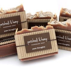 Patchouli & Hemp Natural Soap #packaging #kraft #tag