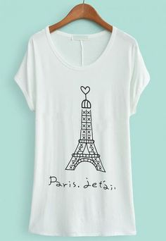 White Batwing Short Sleeve Tower Print T-Shirt pictures