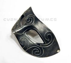 Burnished Titanium Grey Mens Masquerade Mask - Mcu981g