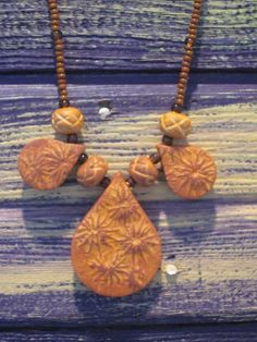 Faux Ceramic Fall Floral Polymer Clay Necklace