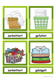 Waschtag_Adjektive _ Flashcards small - learning GO Deutsch Language, English Adjectives, German Language Learning, German Words, Grammar And Vocabulary, Learn German, Galaxy Wallpaper, Kindergarten, Germany