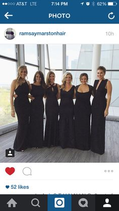 All black bridesmaids dresses. Same color. Different styles.