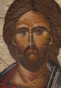 Handmade Byzantine icon Jesus Christ gold background by Sebamadeit