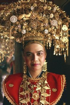 Sumatra Indonesia wedding headdress