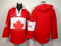 2014 Sochi Winter Olympic Team Canada Blank Lace-Up Jersey Hooded Sweatshirt