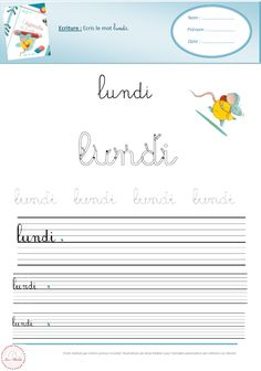 French Cursive, French Handwriting, Core French, French Classroom, Teaching French, Learn French, Kids Learning, Date, Activities For Kids
