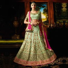 Buy Green - Pink Designer Silk Wedding Wear Lehenga for womens online India, Best Prices, Reviews - Peachmode