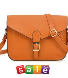 Sweet & Simple Clasp PU Splicing Messenger Bag----Brown