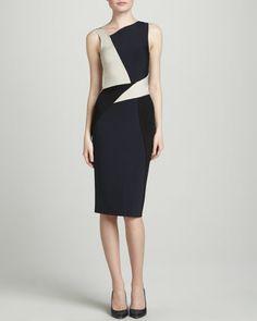 Sleeveless Colorblock Dress, Navy/Multi by Oscar de la Renta