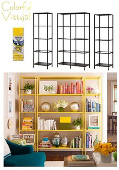 Love the spray-painted yellow idea for shelving! Can also spray paint some old vases in metallics for cool contrast!